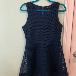 Navy blue mesh dress with navy underlay.